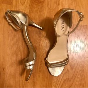 Abound Silver Open Toe Heels